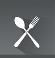 crossed fork and spoon icon vector image vector image