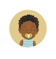 cute afro american child sleeping with a soother vector image vector image
