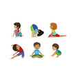 cute little kids doing gymnastics and yoga vector image vector image