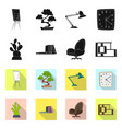 design of furniture and work icon set of vector image vector image