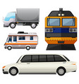 different vehicles on white background vector image vector image
