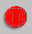 earth globe sign red icon with soft vector image