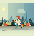 girl with coffee and bags walking in paris vector image vector image