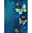 Golden Butterflies on a Blue Background vector image vector image
