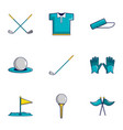 golf equipment icons set cartoon style vector image