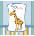 happy birthday card with nice giraffe vector image