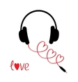 Headphones and red cord in shape of three hearts vector image vector image