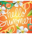 Hello summer background with tropical flowers vector image