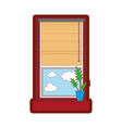 line color window with curtain blind open and vector image