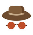 man detective hat and glasses vector image vector image