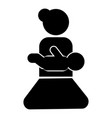mother holding baby on hand icon black color flat vector image