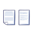 office paper icons isolated document list vector image vector image