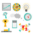 office work elements set - successful teamwork and vector image