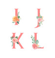 pink alphabet florals setcollection peach and vector image