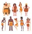 prehistoric people set primitive stone age men vector image vector image