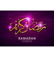 Ramadan Kareem greeting with beautiful illuminated vector image vector image