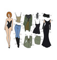 redhead dressing paper doll vector image vector image