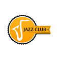 round logo for sax club in yellow color vector image vector image