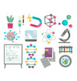 science research equipment biology and physics vector image