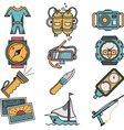 Scuba equipment flat style icons vector image vector image