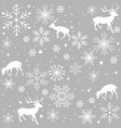 seamless pattern with deer and snowflake vector image vector image
