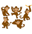 set cute cartoon monkeys vector image vector image