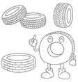 set of tire vector image vector image