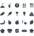 solid flat food icons set graphic design elements vector image vector image