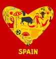 spain background in shape of heart spanish vector image vector image