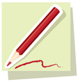 sticker of red pencil vector image vector image