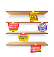 supermarket shelves holidays christmas sale vector image vector image