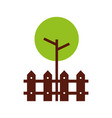 tree fence wooden natural foliage park plant vector image
