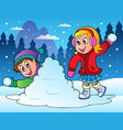 two kids throwing snow balls vector image