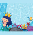 underwater scene with mermaid and fish vector image vector image