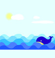 whale in sunny day vector image
