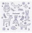 Hand-draw woodland animals vector image