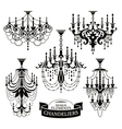 Set of chandelier silhouettes vector image