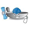 architect wok frying pan utensil kitchenware vector image