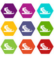 athletic shoe icon set color hexahedron vector image vector image