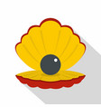 black pearl in a sea shell icon flat style vector image