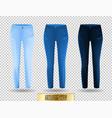 blank leggings mockup set blue and denim on vector image vector image