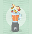 blender with fruits healthy preparation vector image