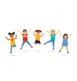 boys and girls jumping vector image vector image