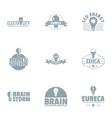 brainstorming logo set simple style vector image