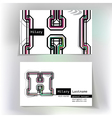 Business card design with letter H vector image vector image