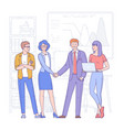 business people shake hands vector image
