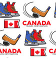 canadian hockey items and national flag seamless vector image vector image