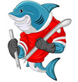 cartoon shark mascot wearing a hockey jersey while vector image vector image