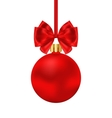 Christmas Red Ball with Satin Bow Ribbon Isolated vector image vector image