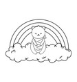 cute bear panda in clouds with rainbow vector image